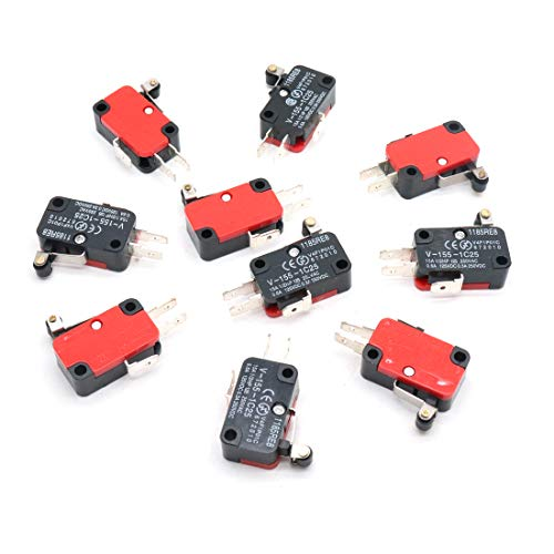 (ZXHAO 10pcs V-155-1C25 3 Pin Micro Limit Switch Short Hinge Roller Lever Arm Momentary SPDT)