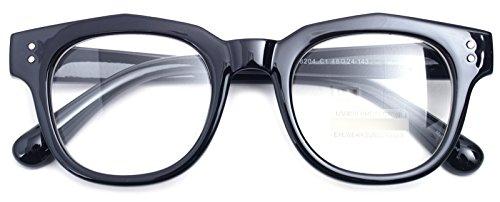 Oversized Square Thick Horn Rimmed Clear Lens Glasses Rivet Non-prescription Frame (Glossy Black 82041, - Eyeglasses Horn