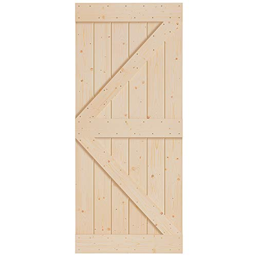 FREDBECK Sliding Barn Wood Door Slab DIY Unfinished Door 36in x 84in (Fit 6FT-6.6FT Rail)