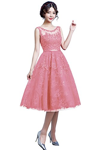 Sleeveless Womens Party with BessWedding Cocktail Lace Short Dresses Blush Sexy Scoop RxUfn6UBI