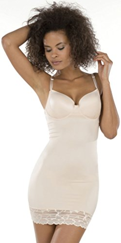 SPANX Assets Red Hot Label Luxe & Lean Firm Control Lace Slip, L, Soft Nude