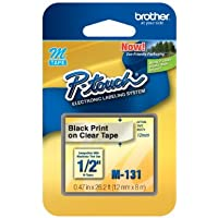 1/2 (12mm) Black on Clear P-touch M Tape for Brother PT-65, PT65 Label Maker