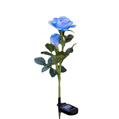 Landscape Roses - Solar 2 LED Flower Lights Solar Powered Garden Outdoor Decorative Landscape Rose Lights Lamp Year-round for Yard Lawn Path Balcony (Blue)