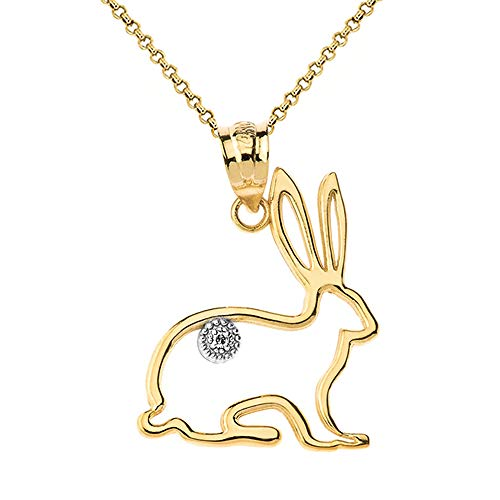 Fashion 14k Yellow Gold Diamond Bunny Rabbit Pet Outline Pendant Necklace, 20
