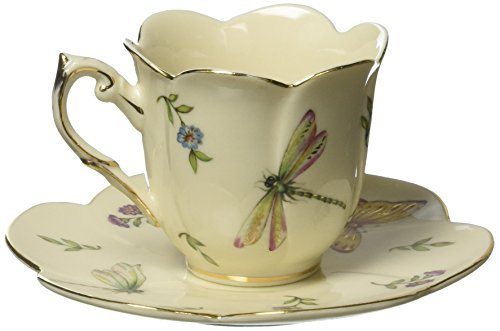 Set of 2 Botanical Porcelain Teacups and Saucers