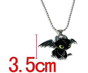 Beaux Bijoux How to Train Your Dragon Necklace - Toothless Night Fury Pendant OBXbCUp