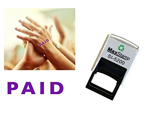 PAID - Hand stamp - suitable for Festivals - Night Clubs - Parties etc self inking VIOLET INK - 2mm x 6mm 5200