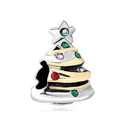 Q&Charms Silver P Christmas Tree Birthstone Charms Xmas Gift Fit Pandora Chamilia Charm Bracelet