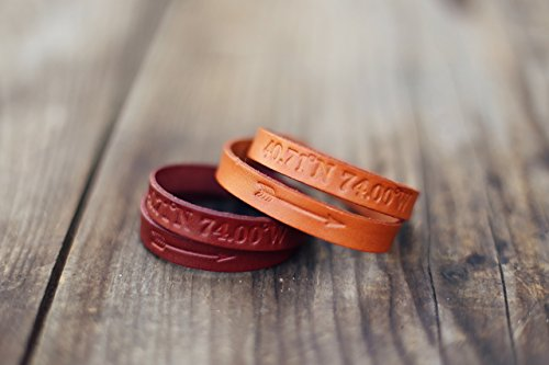 2 Personalized Couples Bracelets, Matching Bracelets, Leather Cuff, Double Wrap, pair, GPS Coordinates, Arrow, Best Friend bracelet