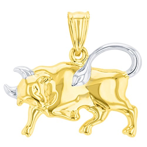 High Polish 14K Yellow Gold Bull Pendant Taurus Zodiac Sign Charm