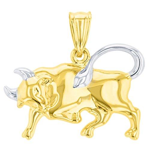 - High Polish 14K Yellow Gold Bull Pendant Taurus Zodiac Sign Charm