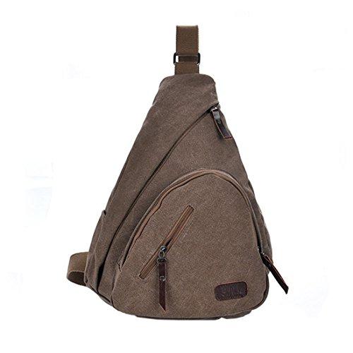 Khaki Chest Back Bag Body Canvas Sling Shoulder Cross Coffee Hiking Men Pack Messenger Travel Cx047fqWvw