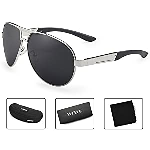 WELUK Oversized Mens Aviator Sunglasses Polarized 63mm Driving UV400 Protection (Silver & Grey, 63)