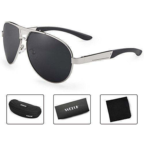 WELUK Oversized Mens Aviator Sunglasses Polarized 63mm Driving UV400 Protection (Silver & Grey, - Sunglasses 150mm