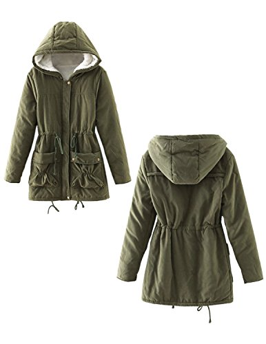 Invierno Calentar Hoodie Cintura Para Cordón Espesar Mujeres Color Capucha En Manga Parka Abrigo 2 Con BYD Verde Sólido Lana Coats Larga Thicken 6HSfqvpw