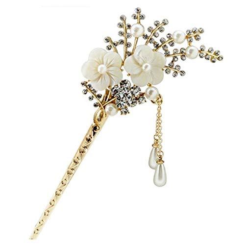 al Rhinestone Flower Hair Stick Tassels Hairpin Clip Ha M9C3 ()