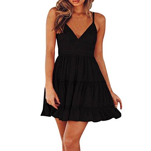 Anxinke Women Sexy Mini Dress, Summer Spaghetti Strap Backless V Neck White Pleated Sundress (M, Black) by Anxinke Women Dress