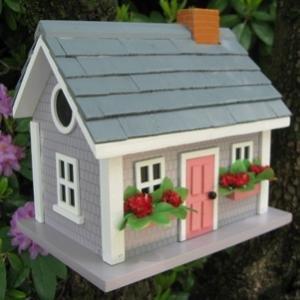 Home Bazaar Vineyard Cottage Birdhouse, Grey