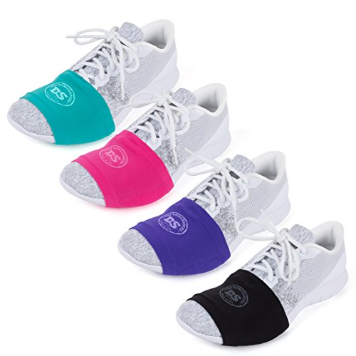 THE DANCESOCKS - Over Sneaker Socks for Dancing on Smooth Floors (4 Pairs - Black, Purple, Pink, Turquoise)