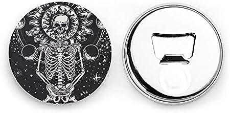 Abrebotellas redondas esqueleto de calavera de meditación / imanes de nevera sacacorchos de acero inoxidable pegatina magnética 2 piezas
