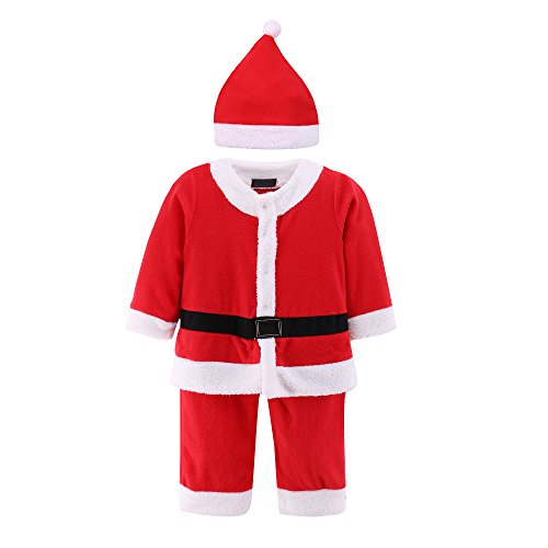[Baby Boys Girl Christmas Santa Claus Suit 2 pcs Xmas Costume Romper Outfit & Hat] (Infant Santa Costumes)