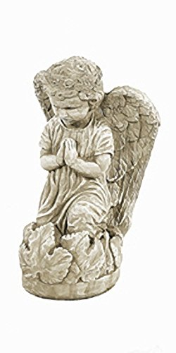 Solid Rock Stoneworks Kneeling Angel Child Stone Statue 14in Tall Desert Sand Color