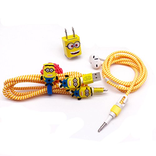 DIY Cartoon Style Spiral Wire Protectors Set / Earphone Cords - Diy Minion