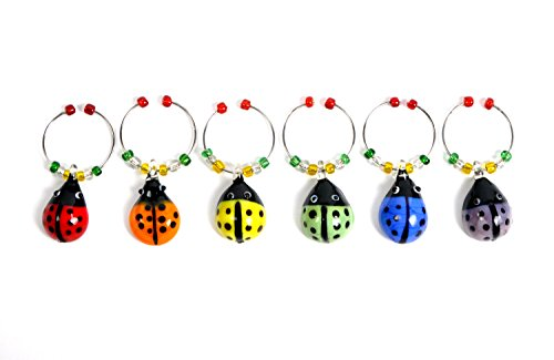 Cork & Leaf Ladybugs Wine Charms, Drink Markers, Set of 6 Wine Charms,Wine Glass Tags, Wine Drinker Gifts, Housewarming Gifts, Cocktail Drink Markers. Multicolor