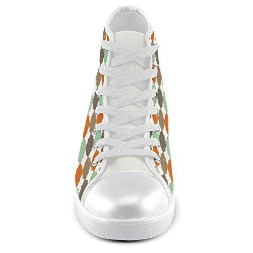 Artsadd Personnalisé Coloré Quadrilobe Treillis Modèle Haut Haut Chaussures De Toile Pour Les Hommes (model002)