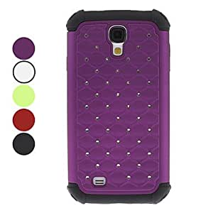 Detachable Grid Pattern Hard Case with Rhinestone for Samsung Galaxy S4 I9500 (Assorted Colors) --- COLOR:Red