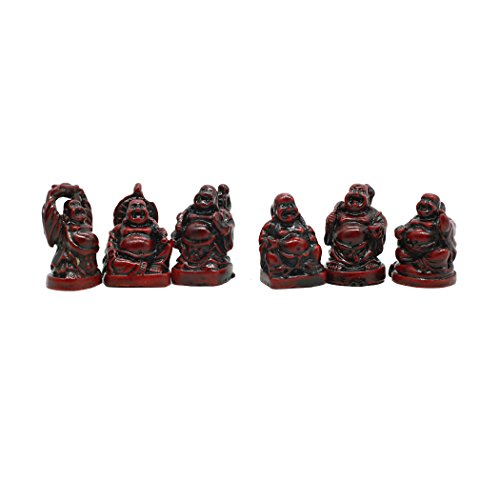 (1'' Red Resin Laughing Buddha Figurines Good Gift and Collection Set of 6)
