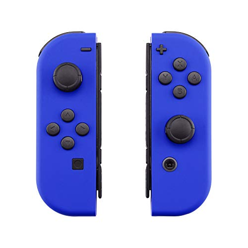 eXtremeRate Soft Touch Grip Blue Joycon Handheld Controller Housing with Full Set Buttons, DIY Replacement Shell Case for Nintendo Switch Joy-Con - Console Shell NOT Included