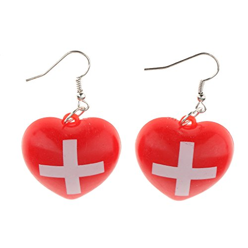 MonkeyJack Nurse Costume Accessory Red Cross Earrings Hospital Honey Fancy Dress ()