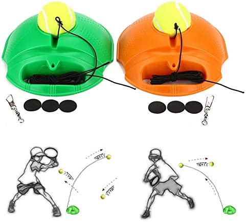 BianchiPamela Tennis Ball Back Base Trainer Set with Long Rubber Elastic Rope Band Tennis