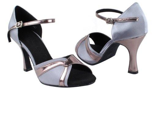 Très Belles Chaussures Dames Latin, Rythme & Salsa Série Salsera Sera3710 (4 Couleurs) 3 Garniture Gris Satin & Étain