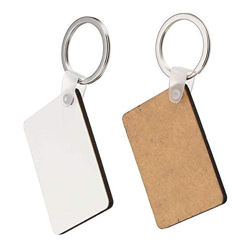 (10x Rectangle Blank MDF Board Key Ring Heat Transfer Printing Key Rings For Heat Press Machine - EDC Gadgets Gadgets - 10 x Rectangle Shaped Sublimation Key Rings)