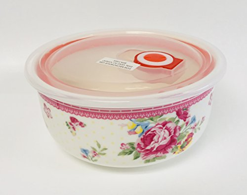 Pink Roses With Blue & Yellow Flowers & Butterflies Design Porcelain Round Bowl With Silicone Seal Lid & Steam Release Button | Microwave | Dishwasher |