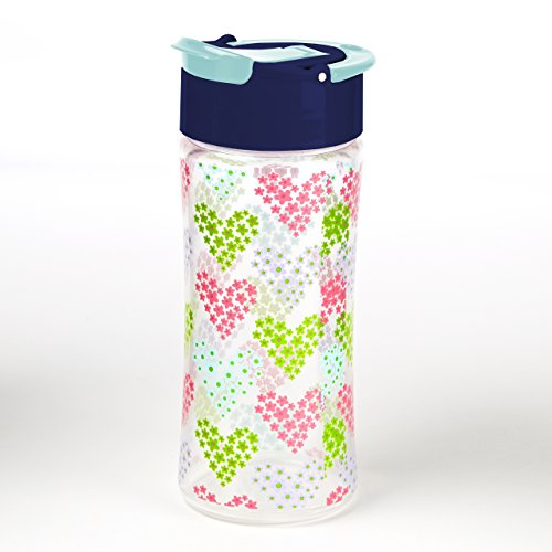 Fit & Fresh Kids Reusable Water Bottle, Made of BPA Free Tritan Plastic with Leakproof Flip-up Cap and Carry Handle, 16 ounces, Heart Flowers