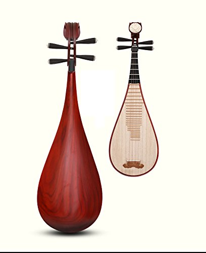 OrientalMusicSanctuary TOP GRADE Scented Rosewood Pipa WITH Black Sandalwood Pegs and Fret - Chinese Lute BIWA for Solo Performers by OrientalMusicSanctuary