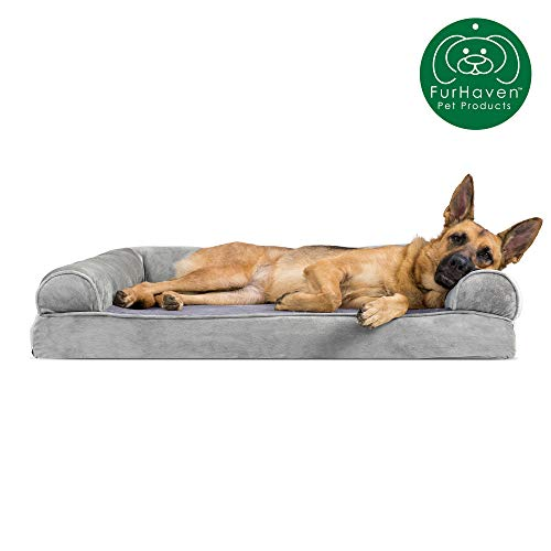 Furhaven Pet Dog Bed | Memory Foam Faux Fur & Velvet Traditional Sofa-Style Living Room Couch Pet Bed w/ Removable Cover for Dogs & Cats, Smoke Gray, Jumbo