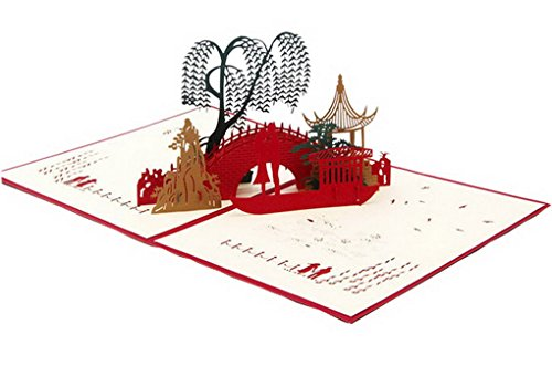 Small Bridge Lover Kirigami Papercraft 3D Pop Up Card Anniversary Easter Halloween New Year's Thanksgiving Valentine's Day Wedding Christmas -