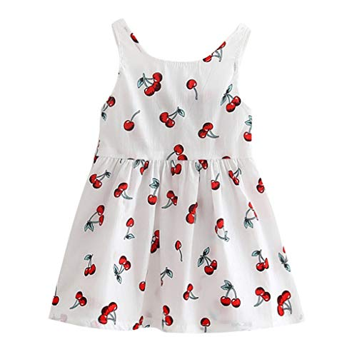 - Newmao Toddler Girls Sleeveless Cherry Print Backless Bow-Knot Princess Mini Dress (4-5T, White)