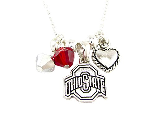 Sports Accessory Store Ohio State Buckeyes Red Austrian Crystal Heart Logo Silver Chain Necklace OSU