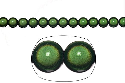 Miracle Beads, 8mm round, dark green (packs of 20 gram/ 77 beads) (Green Miracle Beads)