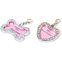 Pet ID Tags-2pcs Crystal Address Decorated for Dog Cats Anti Lost, Rhinestone DIY Mini Photo Frame, Heart & Bone(1.6x0.8 inch, Heart & Bone)