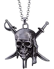 Men vintage silver necklace with skull pendant