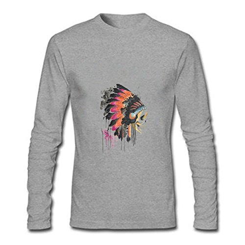 Lobby Star India Head Retro Graphic Lightweight Cotton - Vintage Fashion Classic Long Sleeve mens T-shirt Size M