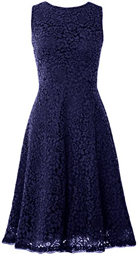 MACloth Women Open Back Lace Short Wedding Party Dress Formal Cocktail Prom Gown Azul Marino Oscuro