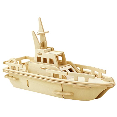 - A-Parts The Boat DIY 3D Cut Model Kit- Wooden Puzzle Toy for Kids Home Decoration