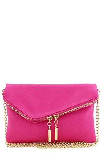 Pink Large Purse - Envelope Wristlet Clutch Crossbody Bag with Chain Strap (Fuchsia)